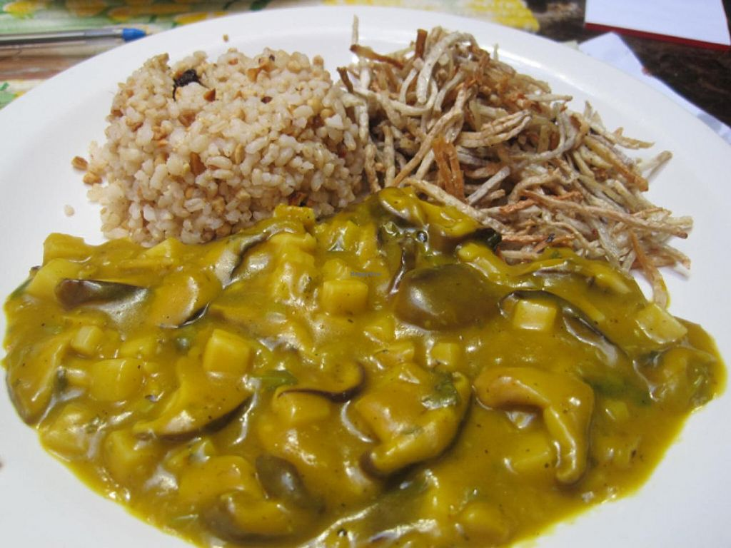 """Photo of Refeitorio Organico  by <a href=""""/members/profile/Babette"""">Babette</a> <br/>Rice, fried inhame and shiitake bobó <br/> January 8, 2015  - <a href='/contact/abuse/image/19852/89799'>Report</a>"""