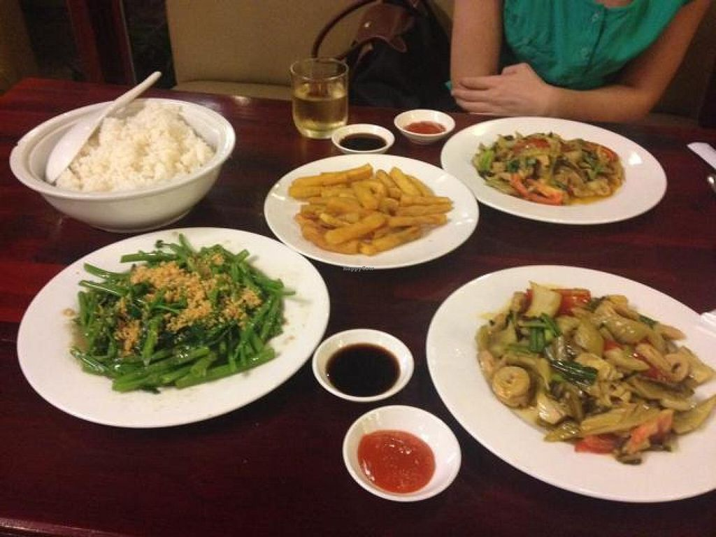 """Photo of Viet Chay - Vinh Nghiem Pagoda  by <a href=""""/members/profile/Kimxula"""">Kimxula</a> <br/>mixed veg with tofu, spinach with garlic and sweet potato fries <br/> May 19, 2014  - <a href='/contact/abuse/image/19869/70248'>Report</a>"""