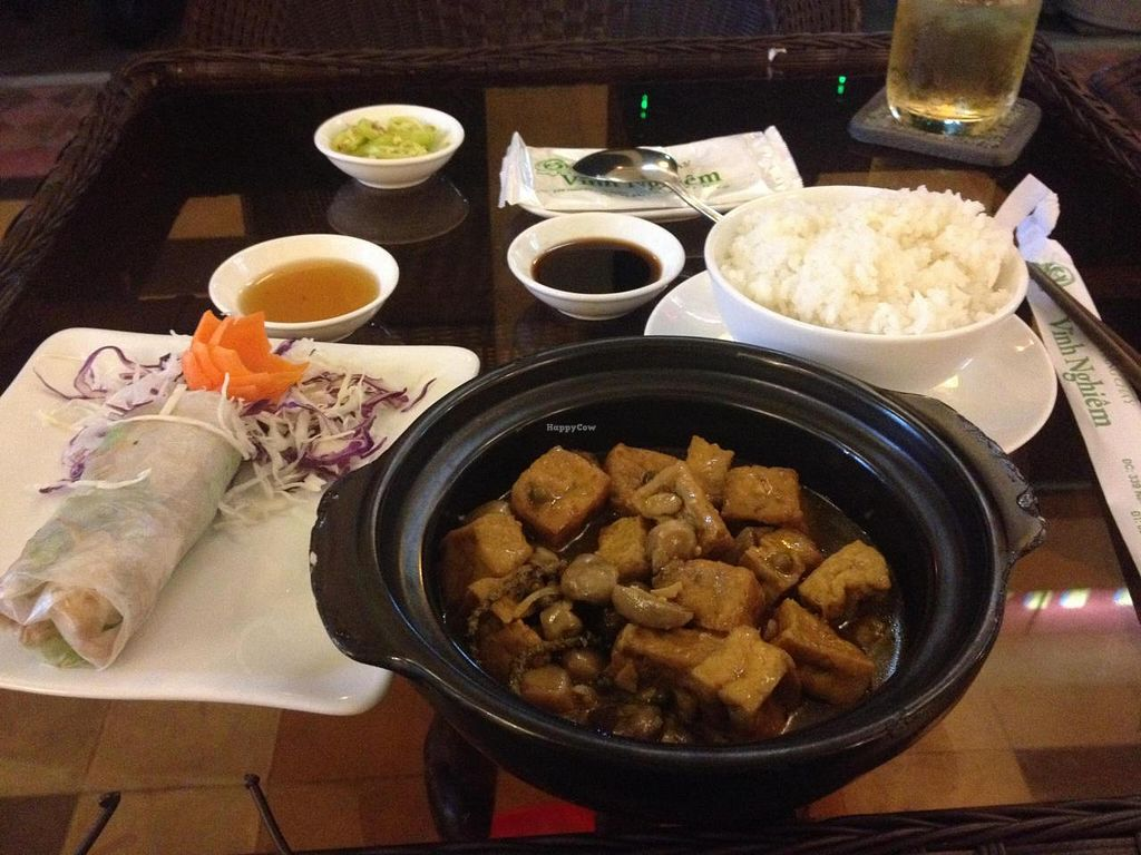 """Photo of Viet Chay - Vinh Nghiem Pagoda  by <a href=""""/members/profile/Kimxula"""">Kimxula</a> <br/>Fresh spring rolls & tofu and mushroom with rice <br/> August 21, 2014  - <a href='/contact/abuse/image/19869/77740'>Report</a>"""