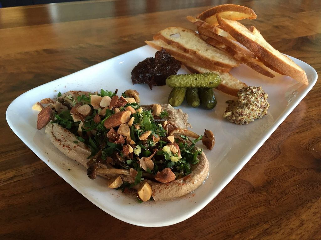 "Photo of CLOSED: Encuentro  by <a href=""/members/profile/clovely.vegan"">clovely.vegan</a> <br/>Marinated mushrooms, smoked pecan pate, cornichon, house made fig chutney, mustard, crisp crostini <br/> October 22, 2015  - <a href='/contact/abuse/image/19932/122123'>Report</a>"
