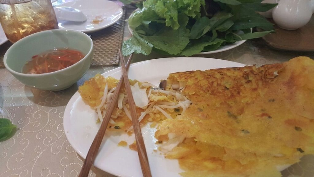 """Photo of San May - Q10  by <a href=""""/members/profile/Refinnej"""">Refinnej</a> <br/>Banh Xeo (Vietnamese pancake filled with mushroom, served with greens for wrapping) <br/> December 27, 2015  - <a href='/contact/abuse/image/19935/130089'>Report</a>"""