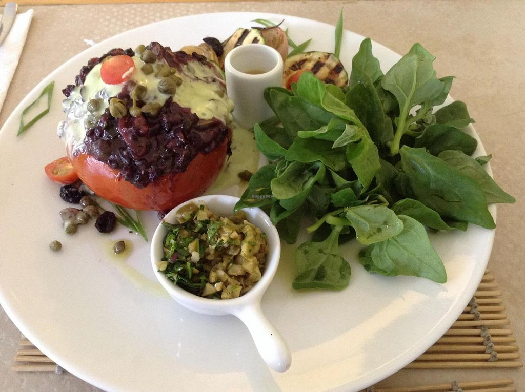 "Photo of CLOSED: AlmaZen  by <a href=""/members/profile/eeyoresenigma"">eeyoresenigma</a> <br/>Tomatoes stuffed with black rice and fresh spinach salad with grilled vegetables <br/> November 27, 2014  - <a href='/contact/abuse/image/20085/86638'>Report</a>"