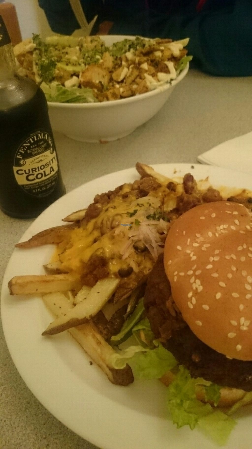 """Photo of CLOSED: Garden to Grill  by <a href=""""/members/profile/jarik"""">jarik</a> <br/>burger, which was served cold, with sub cheese fries and kale salad <br/> October 30, 2016  - <a href='/contact/abuse/image/20181/185437'>Report</a>"""