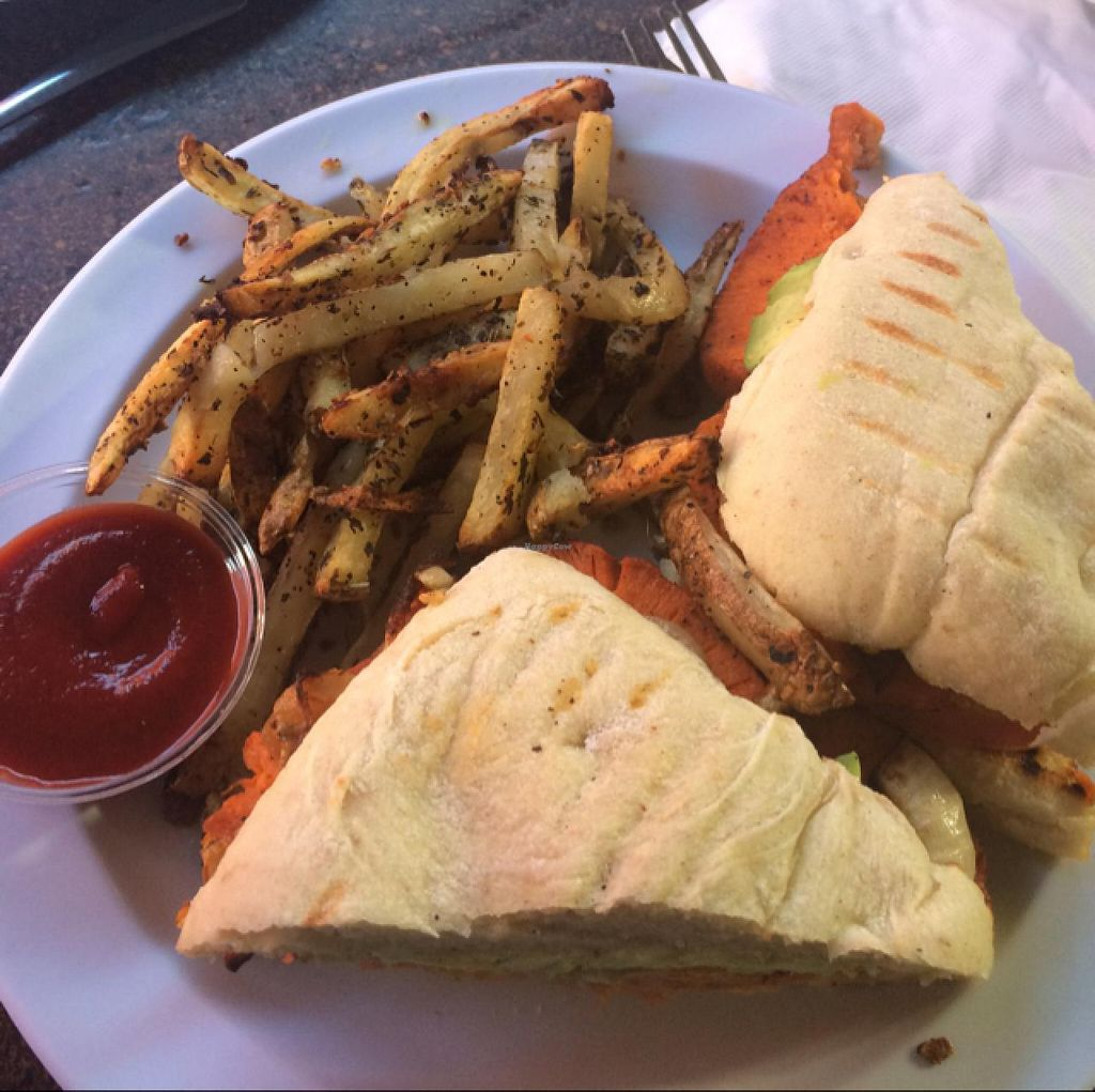 """Photo of CLOSED: Garden to Grill  by <a href=""""/members/profile/MonicaWeinhold"""">MonicaWeinhold</a> <br/>sweet potato panini <br/> December 27, 2014  - <a href='/contact/abuse/image/20181/88834'>Report</a>"""