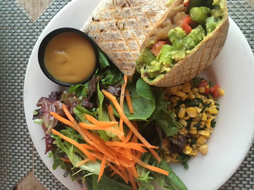 """Photo of The Cafe at Books and Books  by <a href=""""/members/profile/DebbyZebby"""">DebbyZebby</a> <br/>Asparagus fajita with greens and sweet corn salad (vegan) <br/> June 20, 2016  - <a href='/contact/abuse/image/20246/155090'>Report</a>"""