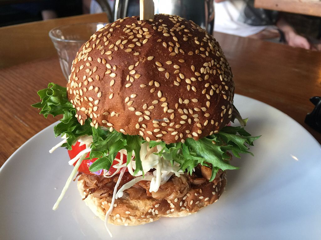 """Photo of Yong Green Food  by <a href=""""/members/profile/Tiggy"""">Tiggy</a> <br/>'The Jack' jackfruit burger $14 - Bun was dry and cardboardy <br/> February 28, 2018  - <a href='/contact/abuse/image/20267/364863'>Report</a>"""