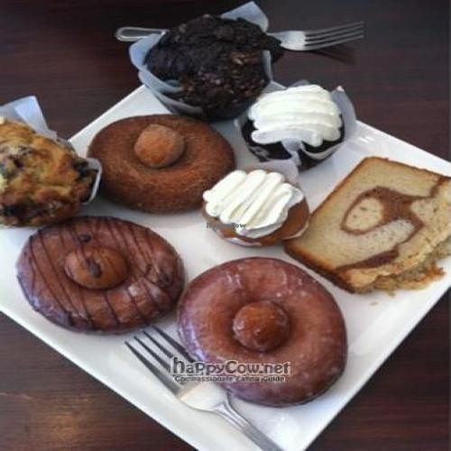 """Photo of CLOSED: Fritz Pastry  by <a href=""""/members/profile/happycowgirl"""">happycowgirl</a> <br/>vegan chocolate muffin @ top, vegan cinnamon donuts w donut hole in middle, small Fritz vanilla and chocolate vegan cupcakes <br/> May 17, 2011  - <a href='/contact/abuse/image/20269/8675'>Report</a>"""