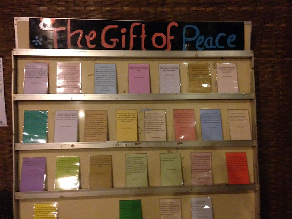 """Photo of Peace Cafe  by <a href=""""/members/profile/VeganFoodQuest"""">VeganFoodQuest</a> <br/>Love this wall off inspirational quotes at the Peace Cafe <br/> February 25, 2017  - <a href='/contact/abuse/image/20271/230148'>Report</a>"""