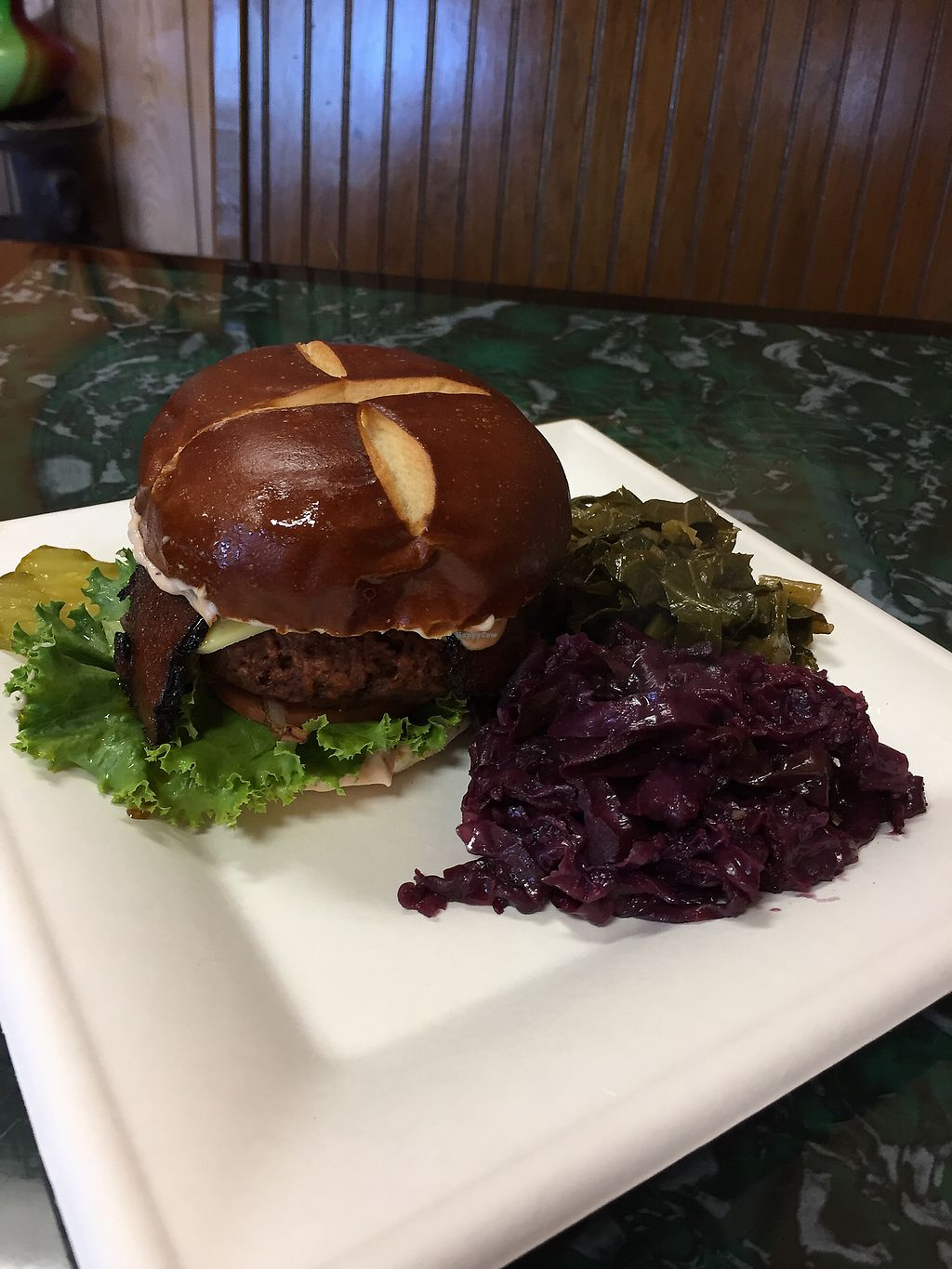 """Photo of Lamb's Bread Vegan Cafe  by <a href=""""/members/profile/sopranonerd"""">sopranonerd</a> <br/>""""bacon cheese burger"""" with veg sides <br/> August 1, 2017  - <a href='/contact/abuse/image/20304/287791'>Report</a>"""