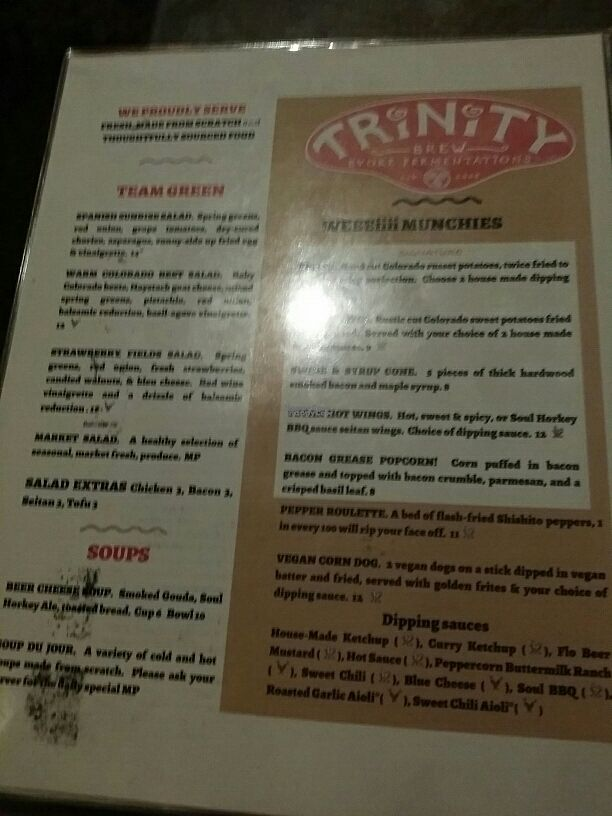 "Photo of Trinity Brewing Company  by <a href=""/members/profile/tracyrocks"">tracyrocks</a> <br/>food menu  <br/> October 26, 2016  - <a href='/contact/abuse/image/20387/184447'>Report</a>"