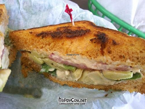 """Photo of Valpo Velvet  by <a href=""""/members/profile/happycowgirl"""">happycowgirl</a> <br/>Make Your Own.  I asked if they could make me a grilled hummus, tomato, artichoke and avocado sandwich.  Here it is on tomato bread...delicious! <br/> July 8, 2012  - <a href='/contact/abuse/image/20458/34261'>Report</a>"""