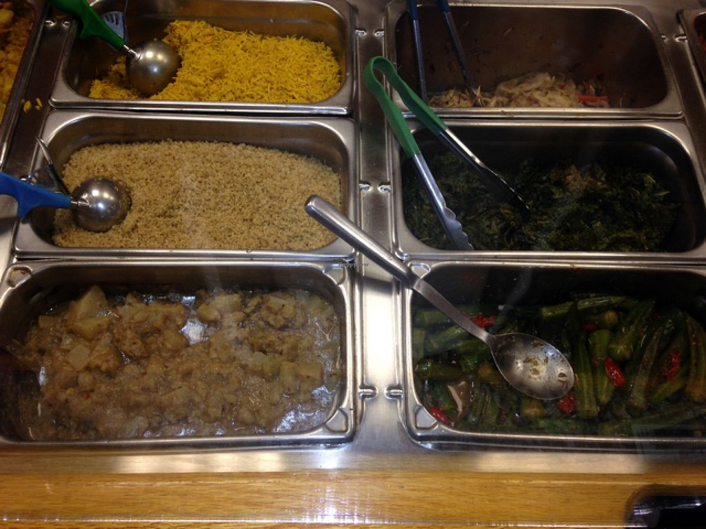 """Photo of CLOSED: Fire & Spice Vegan Restaurant - Sisson Ave  by <a href=""""/members/profile/GreekMexican"""">GreekMexican</a> <br/>pumpkin rice, quinoa, 2 types of squash, cabbage vinaigrette, kale with garlic, okra <br/> May 24, 2016  - <a href='/contact/abuse/image/20479/150687'>Report</a>"""