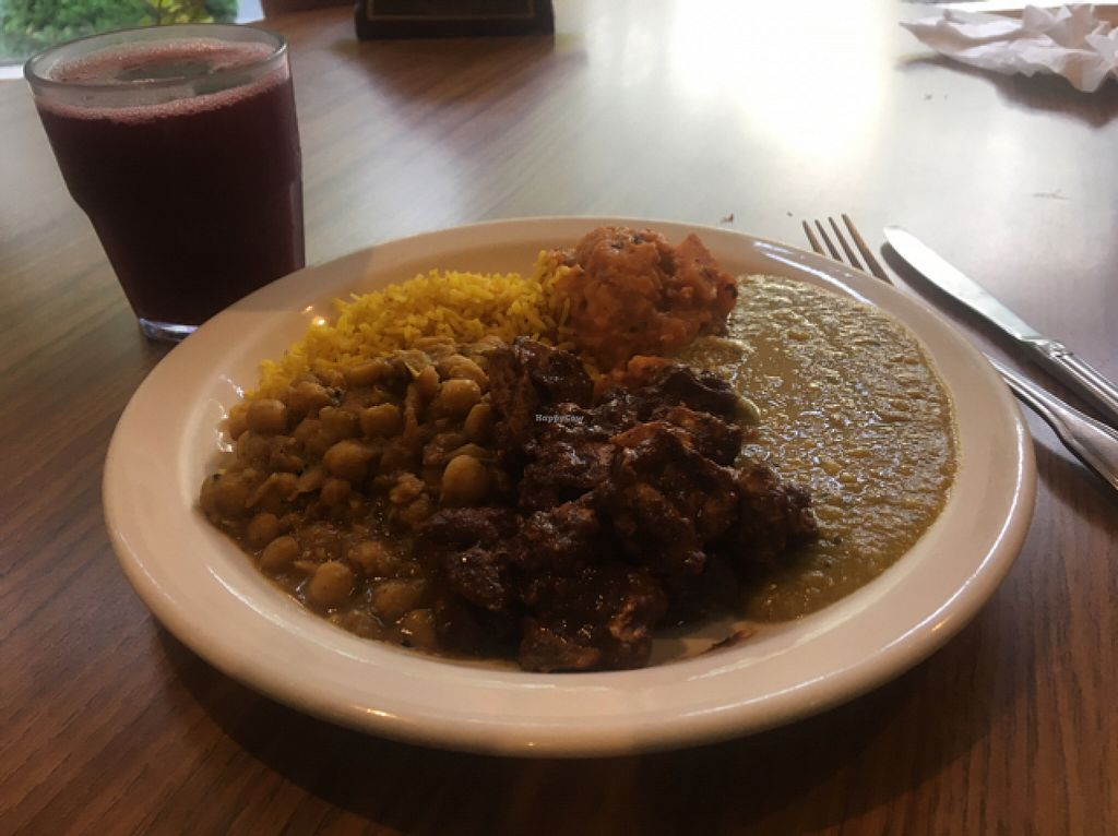 """Photo of CLOSED: Fire & Spice Vegan Restaurant - Sisson Ave  by <a href=""""/members/profile/Dadoofish"""">Dadoofish</a> <br/>5 choice meal with fresh squeezed juice.  <br/> June 7, 2016  - <a href='/contact/abuse/image/20479/152707'>Report</a>"""