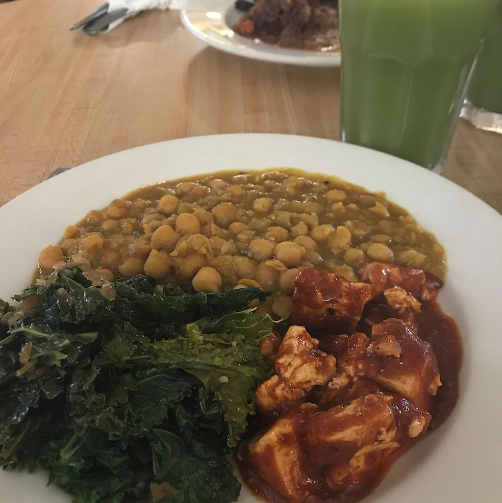 """Photo of CLOSED: Fire & Spice Vegan Restaurant - Sisson Ave  by <a href=""""/members/profile/nikiharvs"""">nikiharvs</a> <br/>BBQ tofu, greens, and chickpeas - yum! <br/> June 13, 2017  - <a href='/contact/abuse/image/20479/268829'>Report</a>"""