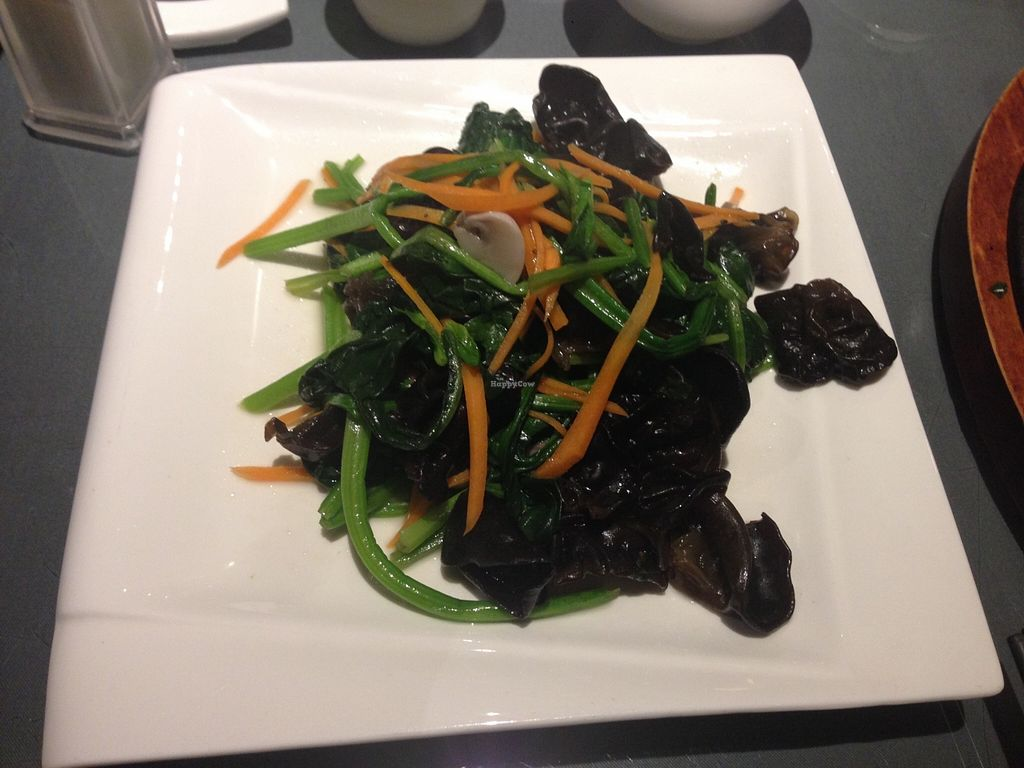 """Photo of Tianchu Miaoxiang Vegetarian - Chaowai  by <a href=""""/members/profile/uomotofu"""">uomotofu</a> <br/>Spinach and mu-erh mushrooms <br/> November 14, 2015  - <a href='/contact/abuse/image/20508/125001'>Report</a>"""