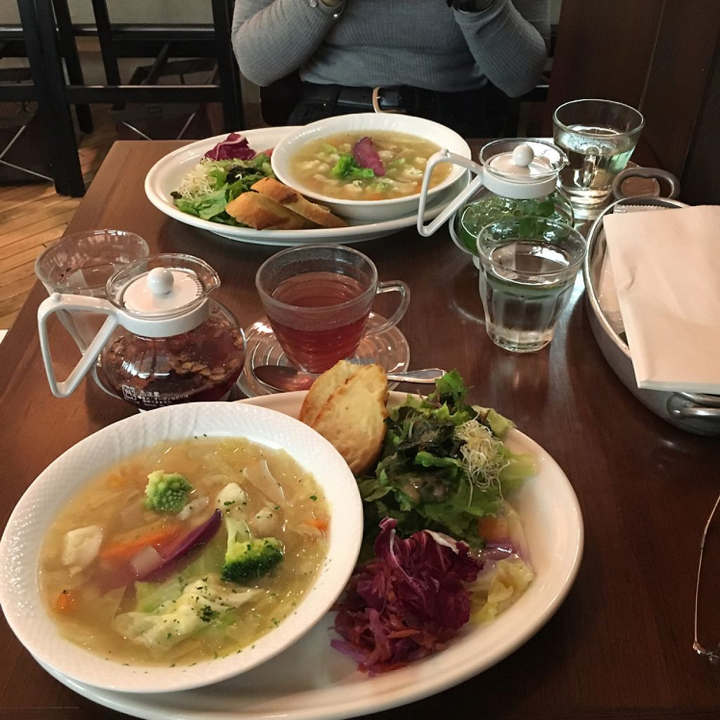 """Photo of Chaya Macrobiotics - Isetan Shinjuku  by <a href=""""/members/profile/ibuljat"""">ibuljat</a> <br/>Vegetable soup with soy cheese bread and salad <br/> February 23, 2017  - <a href='/contact/abuse/image/20523/229594'>Report</a>"""