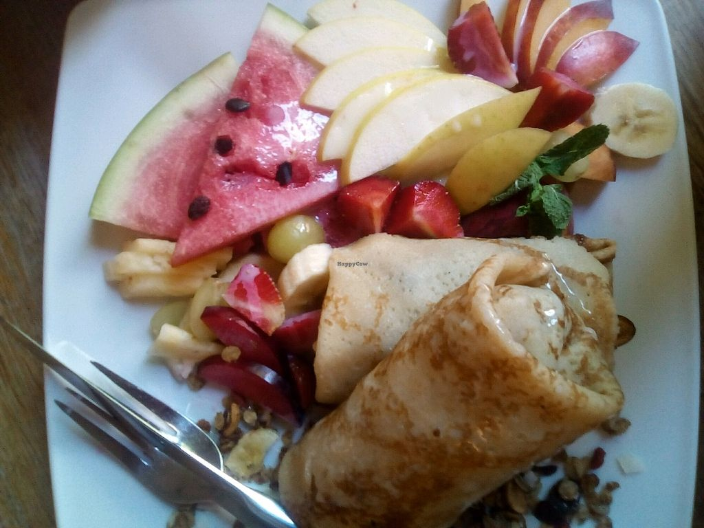 """Photo of Glonojad  by <a href=""""/members/profile/a_coffee_please"""">a_coffee_please</a> <br/>Pancakes with fruits (not vegan) <br/> February 28, 2018  - <a href='/contact/abuse/image/20526/364896'>Report</a>"""