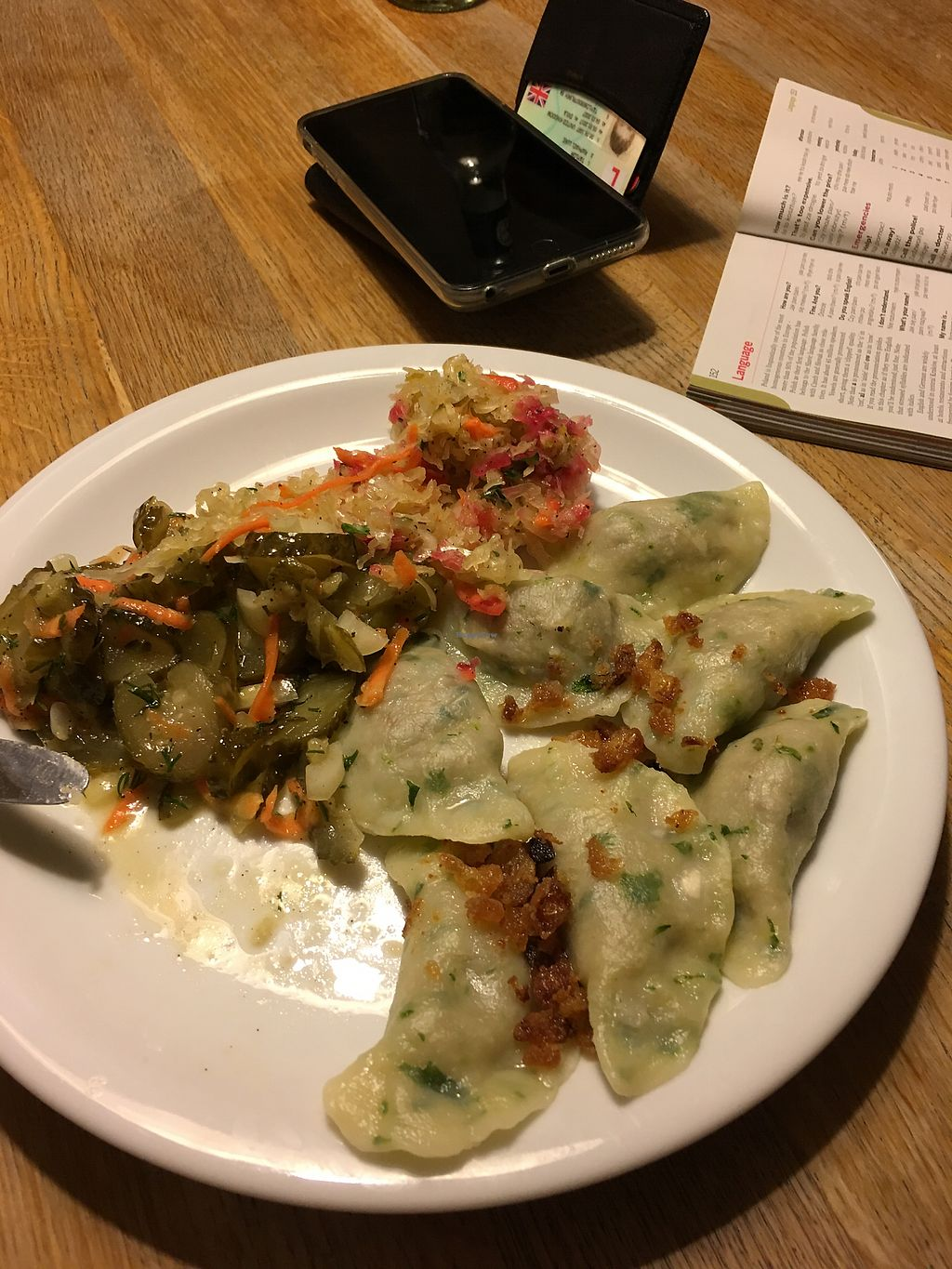 """Photo of Glonojad  by <a href=""""/members/profile/MillieRose"""">MillieRose</a> <br/>Only remembered to take after starting to eat! Vegan lentil dumplings with sauerkraut and pickle salad <br/> April 10, 2018  - <a href='/contact/abuse/image/20526/383249'>Report</a>"""