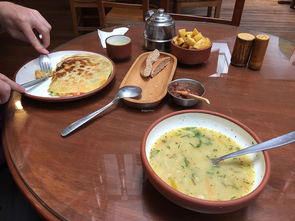 "Photo of Namas Te  by <a href=""/members/profile/Dianebg"">Dianebg</a> <br/>Vegetable soup with oats, vegetarian quesadilla, homemade fries  <br/> September 22, 2017  - <a href='/contact/abuse/image/20563/307167'>Report</a>"