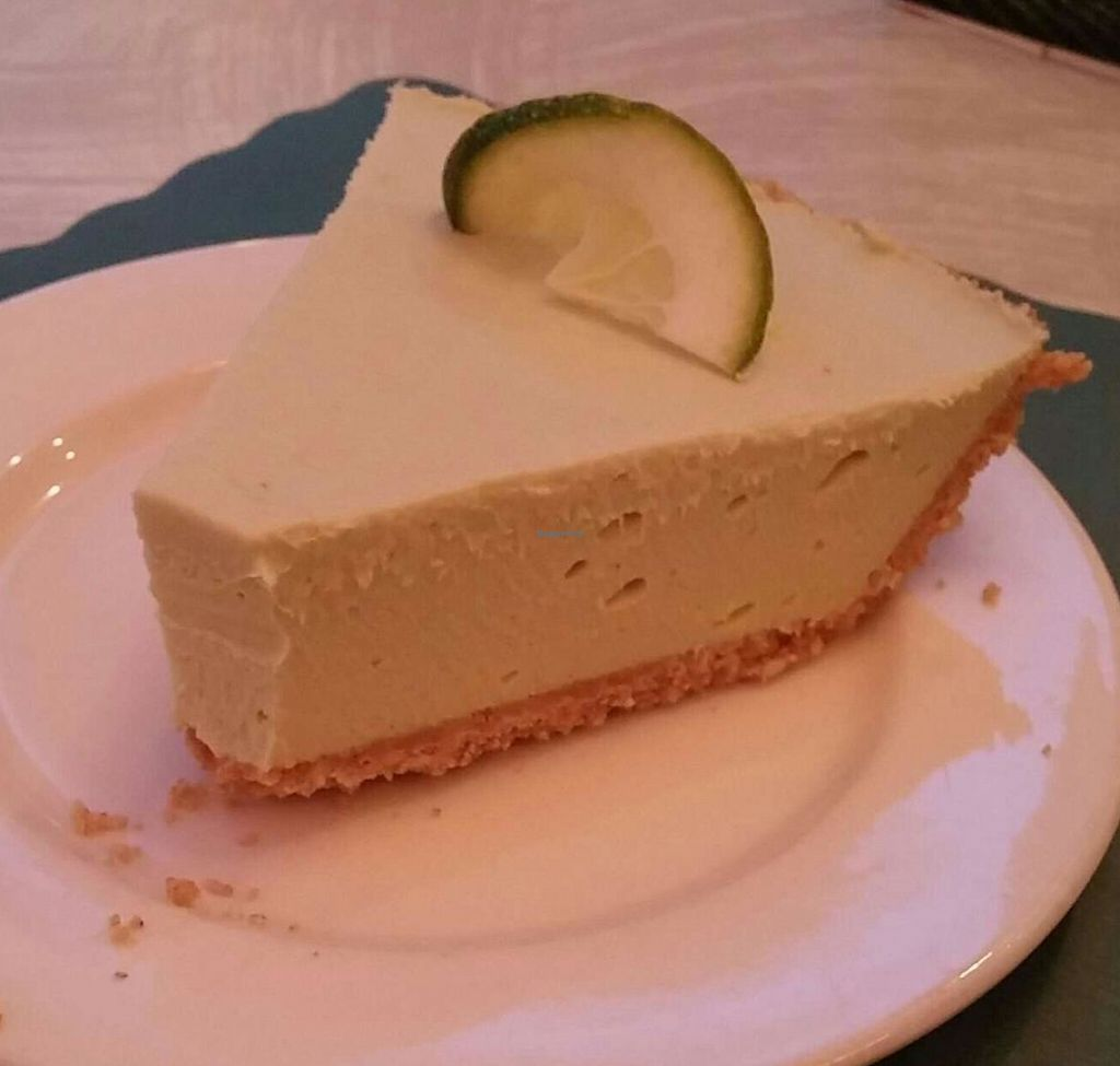 """Photo of The Vegetable Garden  by <a href=""""/members/profile/HarryTheVegan"""">HarryTheVegan</a> <br/>Key lime pie, this was the most flavorful dessert I have ever had that is vegan! <br/> June 16, 2015  - <a href='/contact/abuse/image/2058/194832'>Report</a>"""
