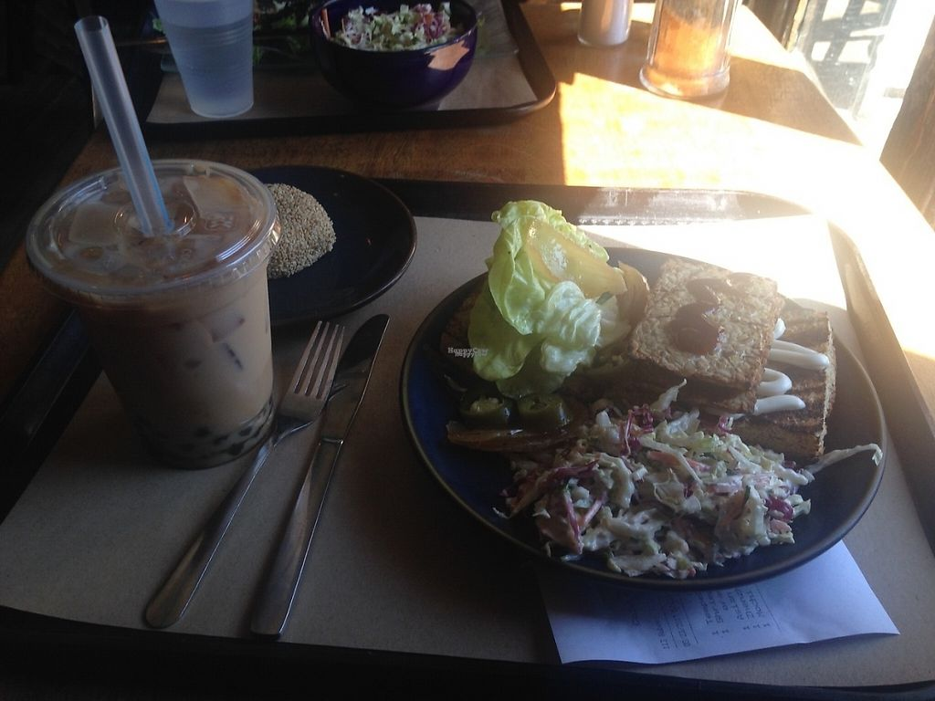 """Photo of Teaism - Dupont Circle  by <a href=""""/members/profile/BreannaWhite"""">BreannaWhite</a> <br/>Meal! Tempeh burger with bubble tea & mochi for dessert <br/> March 25, 2017  - <a href='/contact/abuse/image/20652/240456'>Report</a>"""