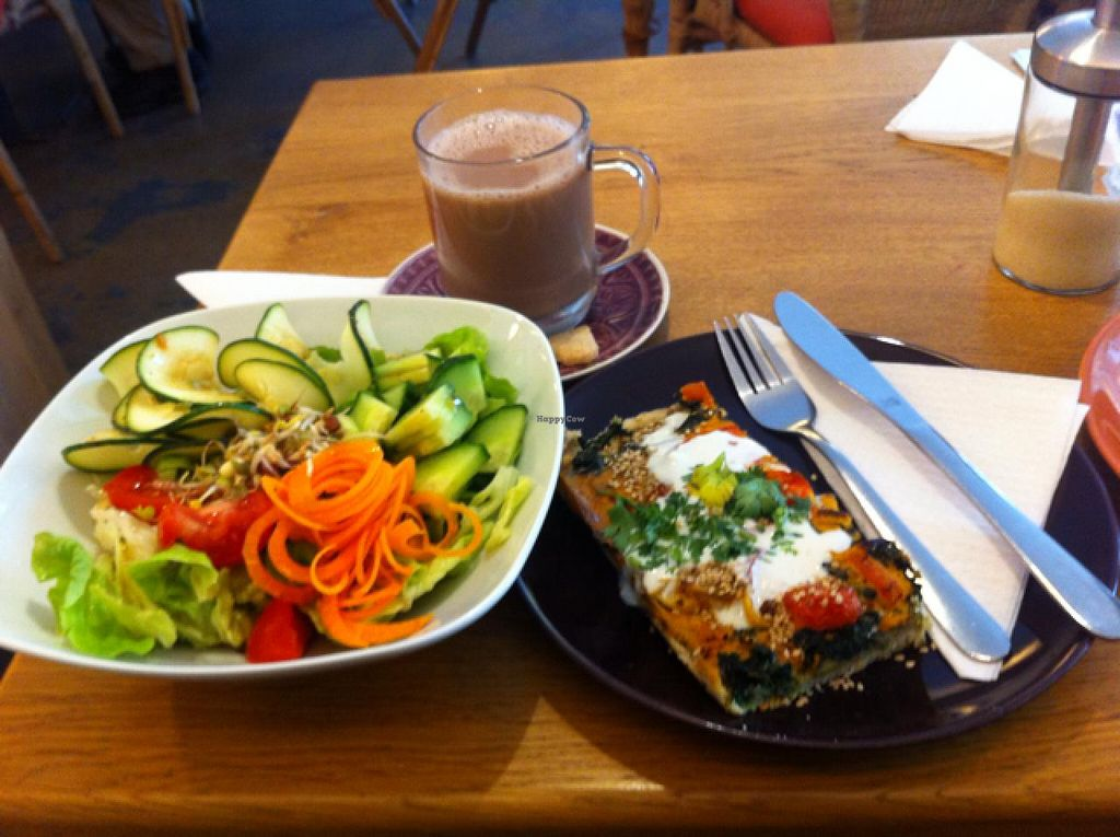 """Photo of Golden Temple Teehaus  by <a href=""""/members/profile/ViktorijaGor"""">ViktorijaGor</a> <br/>vegan quiche with salad bowl <br/> June 11, 2015  - <a href='/contact/abuse/image/20660/105446'>Report</a>"""