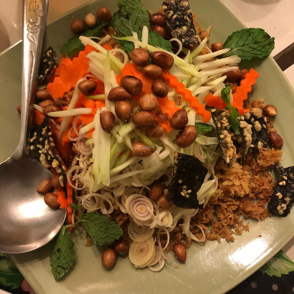 """Photo of Dok Bua Vegetarian - Lotus Vegetarian  by <a href=""""/members/profile/KittyKat21"""">KittyKat21</a> <br/>Crispy """"Fish"""" Salad  <br/> March 27, 2018  - <a href='/contact/abuse/image/20705/376819'>Report</a>"""