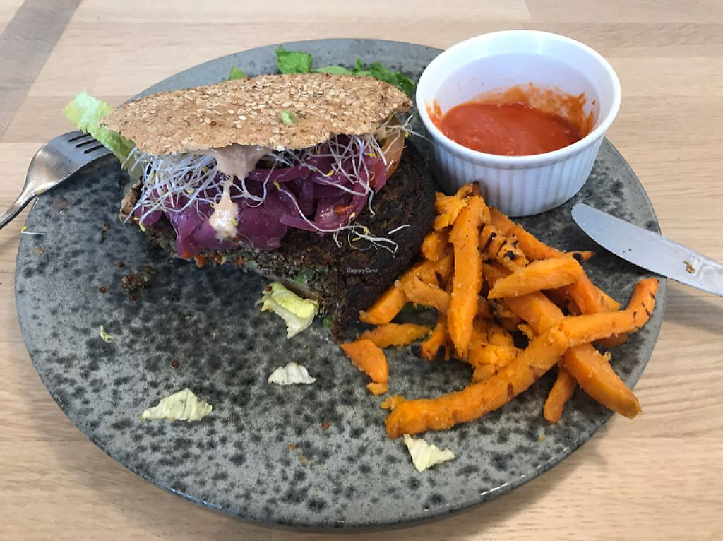 """Photo of 42 Degrees Raw - Pilestaede  by <a href=""""/members/profile/kennethplantss"""">kennethplantss</a> <br/>vegan burger with sweet potato fries <br/> May 9, 2017  - <a href='/contact/abuse/image/20746/257370'>Report</a>"""