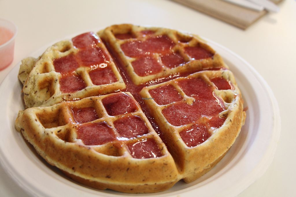 """Photo of City Cakes and Cafe  by <a href=""""/members/profile/Drhannahj"""">Drhannahj</a> <br/>Vegan Waffles with berry syrup! <br/> August 6, 2017  - <a href='/contact/abuse/image/20781/289699'>Report</a>"""