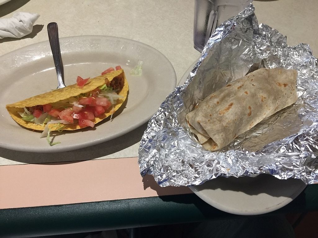 """Photo of Lolita's Mexican Restaurant  by <a href=""""/members/profile/ccwehrman"""">ccwehrman</a> <br/>Soy meat taco and burrito sans cheese! <br/> April 29, 2017  - <a href='/contact/abuse/image/20787/253878'>Report</a>"""
