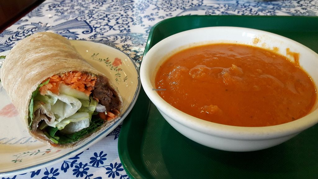 """Photo of Lehani's Deli and Coffee House  by <a href=""""/members/profile/fgsanz"""">fgsanz</a> <br/>Tomato squash soup and tempeh wrap <br/> January 28, 2018  - <a href='/contact/abuse/image/20890/351734'>Report</a>"""