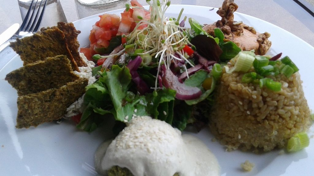 """Photo of Organic Garden Cafe  by <a href=""""/members/profile/veganri"""">veganri</a> <br/>Sample Plate... Falafel, Sunseed Crouquettes, Chevre & Crackers, Bomblette, Salad, Brown Rice & Quinoa <br/> July 3, 2016  - <a href='/contact/abuse/image/2090/157513'>Report</a>"""