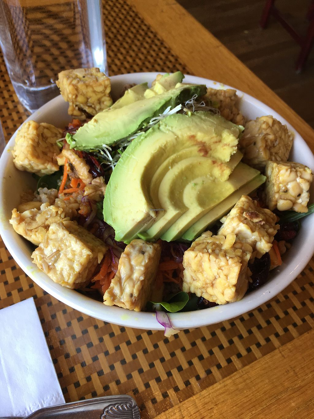"""Photo of Organic Garden Cafe  by <a href=""""/members/profile/kristy_oc"""">kristy_oc</a> <br/>Harvest bowl with tempeh and avocado added <br/> August 16, 2017  - <a href='/contact/abuse/image/2090/293387'>Report</a>"""
