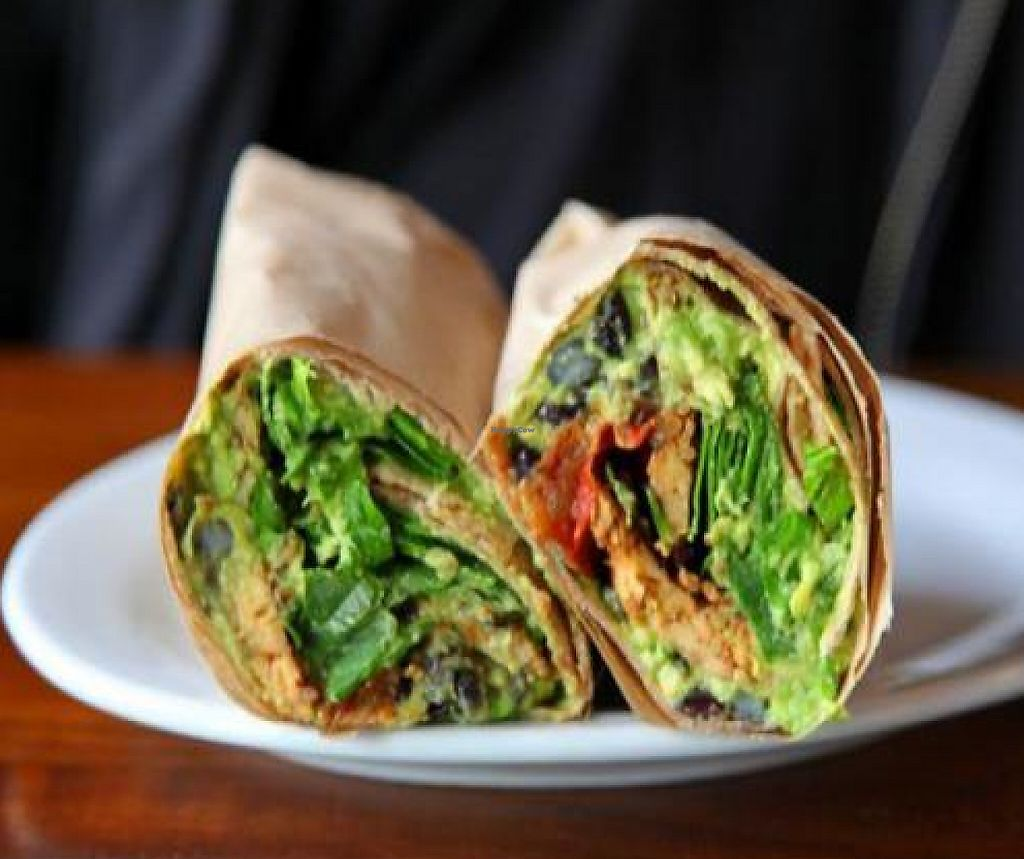 """Photo of Prasad - Pearl District  by <a href=""""/members/profile/quarrygirl"""">quarrygirl</a> <br/>gaucho wrap: chipotle marinated tempeh, slow roasted tomatoes, spinach, black beans, smashed avocado and lime in a whole wheat tortilla <br/> December 26, 2011  - <a href='/contact/abuse/image/20927/190031'>Report</a>"""