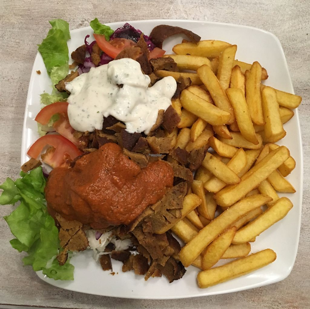 """Photo of Veganbar  by <a href=""""/members/profile/Konst"""">Konst</a> <br/>Whöner plate with french fries <br/> March 9, 2017  - <a href='/contact/abuse/image/20940/234519'>Report</a>"""