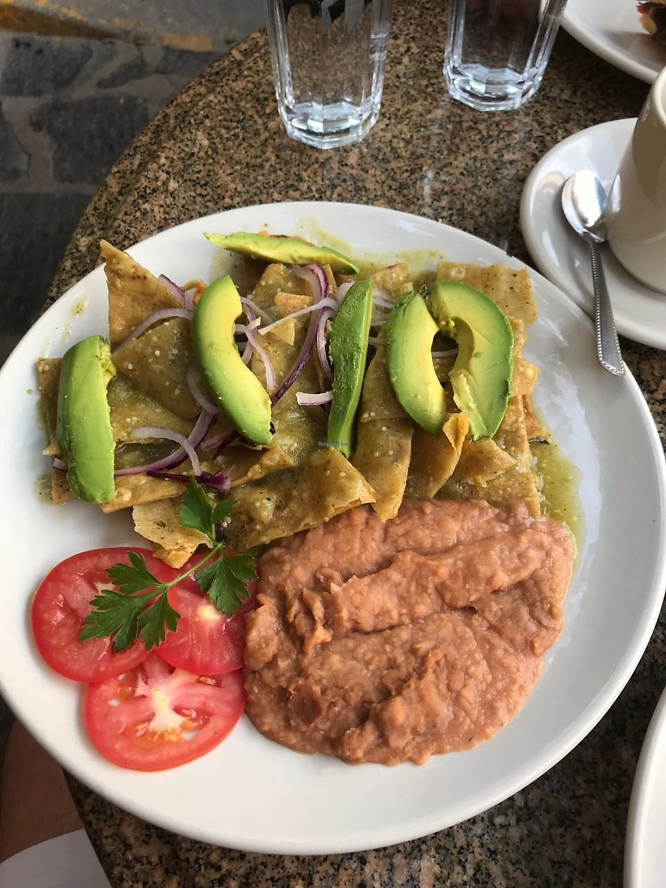 """Photo of Via Organica  by <a href=""""/members/profile/JosiahW"""">JosiahW</a> <br/>Chilaquiles Verdes Vegano. Specify Green Chilaquiles no cheese add avocado and onion <br/> April 23, 2018  - <a href='/contact/abuse/image/20974/390172'>Report</a>"""