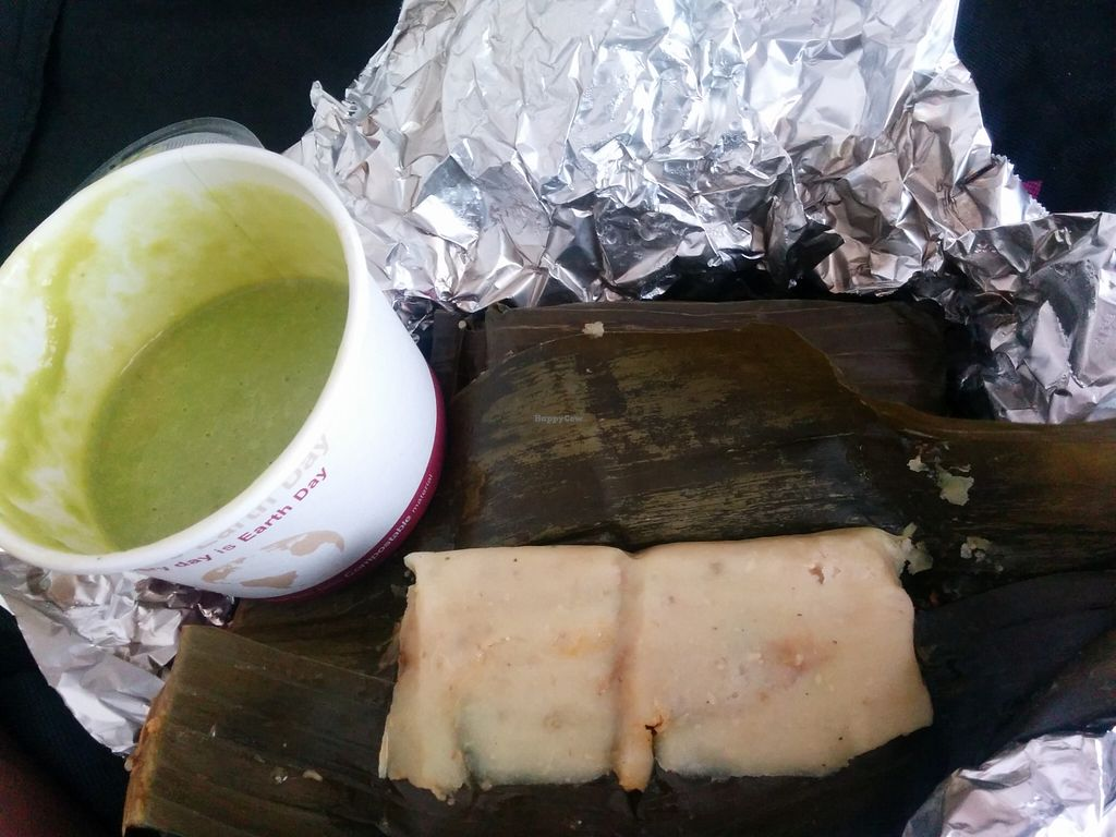 "Photo of Flacos  by <a href=""/members/profile/MizzB"">MizzB</a> <br/>Banana leaf tamales - soy protein in savory mole, capers, potatoes, green olives inside organic corn masa steamed in banana leaf <br/> May 22, 2016  - <a href='/contact/abuse/image/20980/150317'>Report</a>"