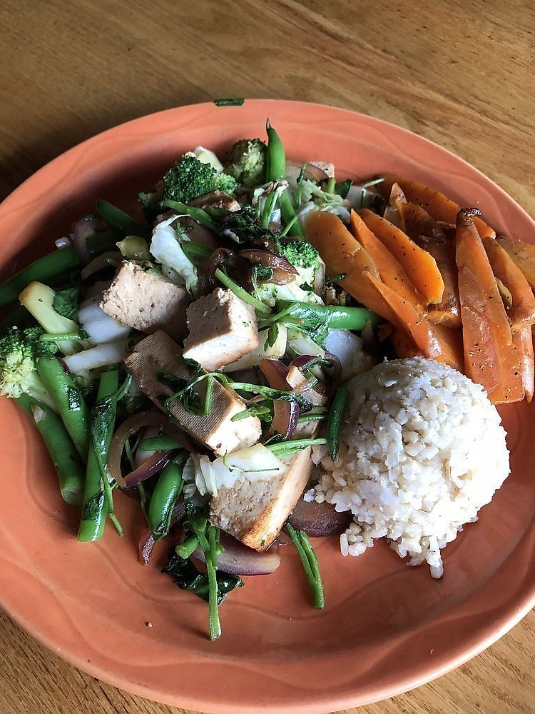 """Photo of Paul and Elizabeth's  by <a href=""""/members/profile/nlevine94"""">nlevine94</a> <br/>Veggie platter (special that day) - mixed veggies and tofu with a small cup of rice. LARGE meal, to-go box recommended <br/> November 11, 2017  - <a href='/contact/abuse/image/2101/324079'>Report</a>"""