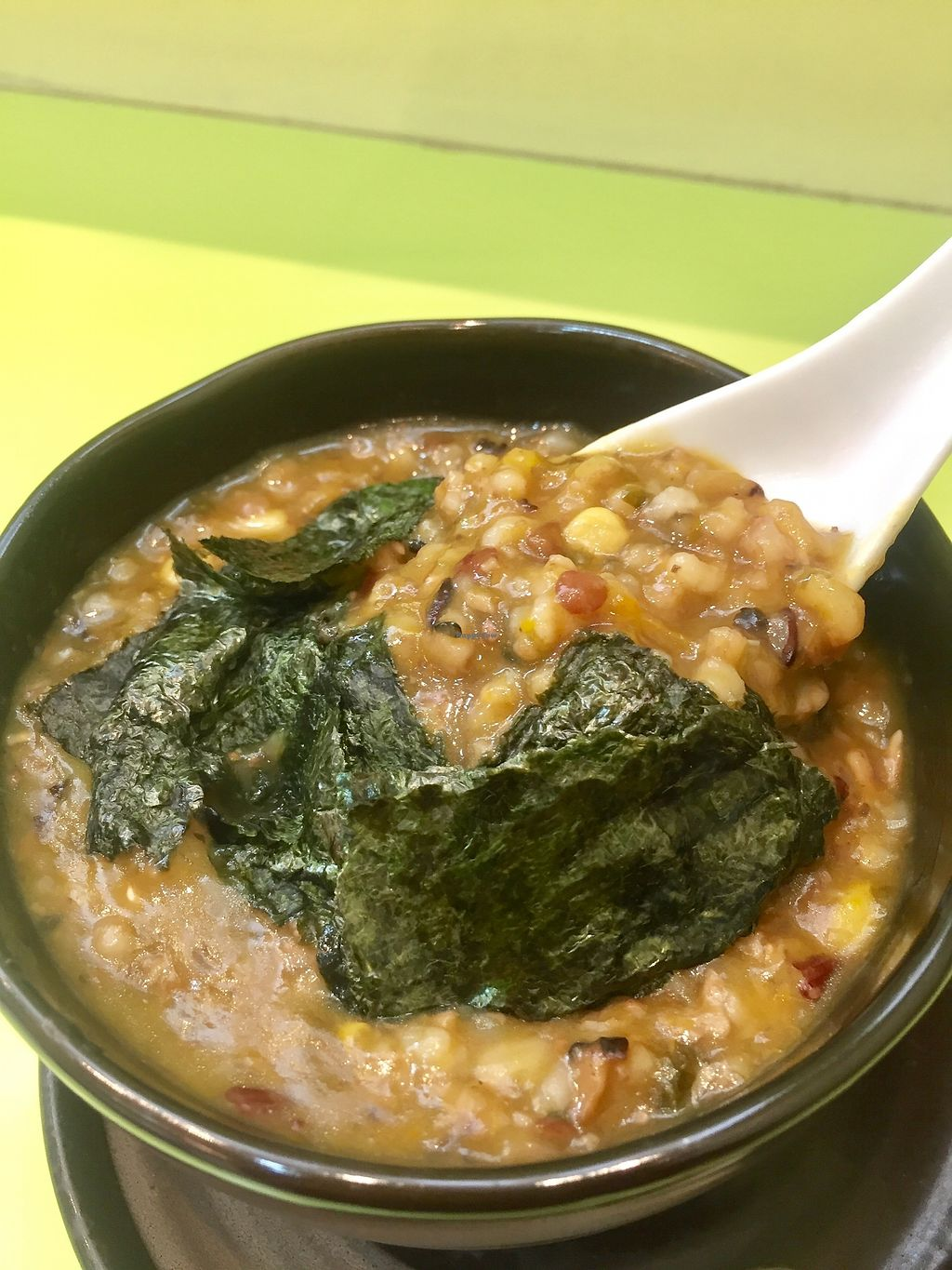 """Photo of Tracy Juice Culture - Fortune Centre  by <a href=""""/members/profile/lindyhan"""">lindyhan</a> <br/>Wild rice congee. Ingredients: sweet corn, mushrooms, wolf berries, seaweed. $4. Very small bowl. Not enough for a meal. Perhaps a snack.  <br/> July 29, 2017  - <a href='/contact/abuse/image/21091/286137'>Report</a>"""