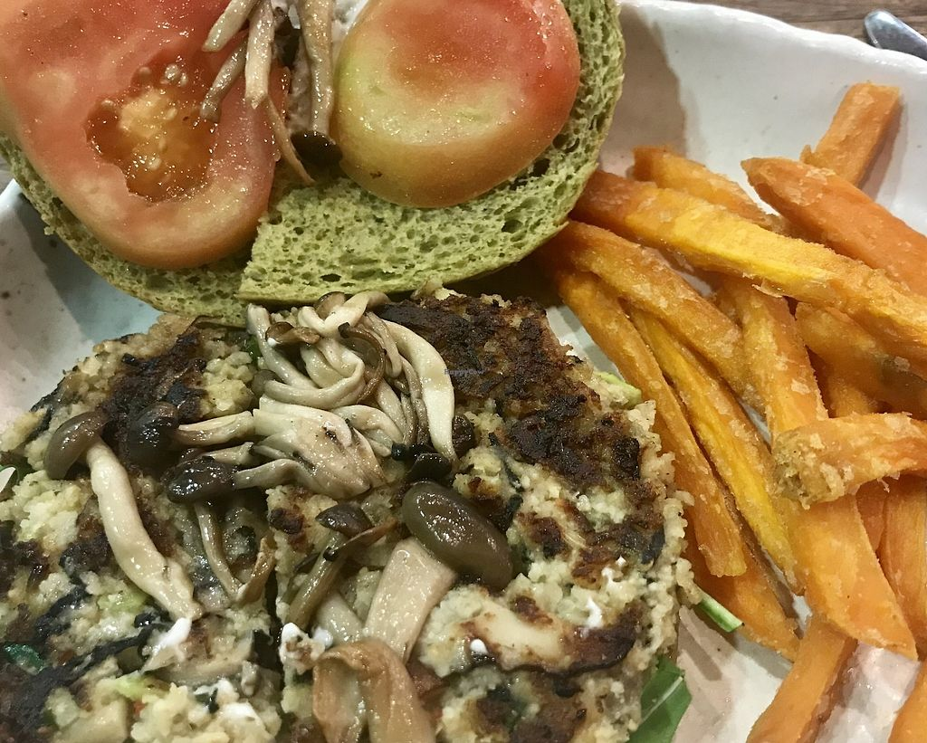 "Photo of Cedele - Raffles City  by <a href=""/members/profile/lindyhan"">lindyhan</a> <br/>Mushroom millet burger on spinach bap with sweet potato fries at HillV2 <br/> October 15, 2017  - <a href='/contact/abuse/image/21159/315481'>Report</a>"