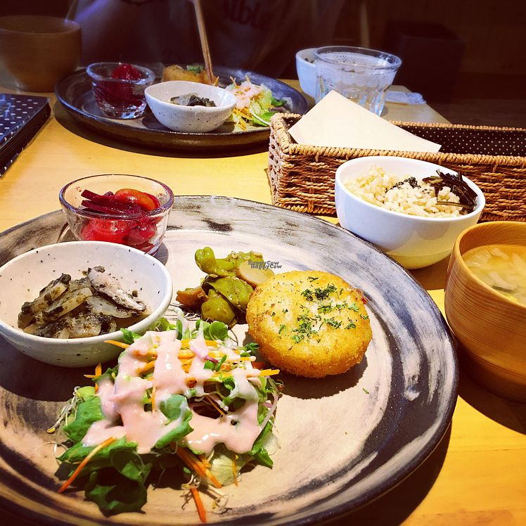 """Photo of Pupu Kitchen and Health Food Shop  by <a href=""""/members/profile/momo28"""">momo28</a> <br/>delicious creamy croquette with many veggie sides, soup of the day, and brown rice <br/> October 1, 2016  - <a href='/contact/abuse/image/21162/178931'>Report</a>"""