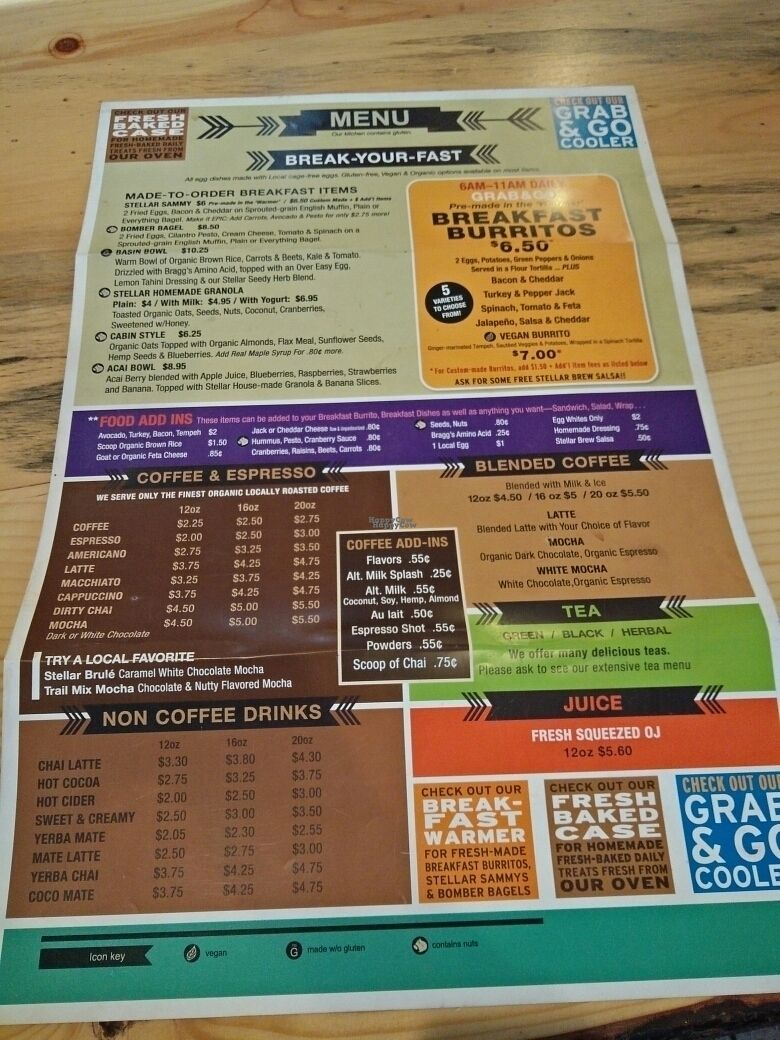 """Photo of Stellar Brew and Deli  by <a href=""""/members/profile/martinicontomate"""">martinicontomate</a> <br/>menu <br/> October 6, 2016  - <a href='/contact/abuse/image/21193/179984'>Report</a>"""