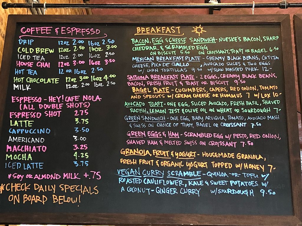 "Photo of Satsuma Cafe - Dauphine St  by <a href=""/members/profile/carnold"">carnold</a> <br/>Great menu, including daily specials on another board <br/> April 30, 2018  - <a href='/contact/abuse/image/21265/392801'>Report</a>"