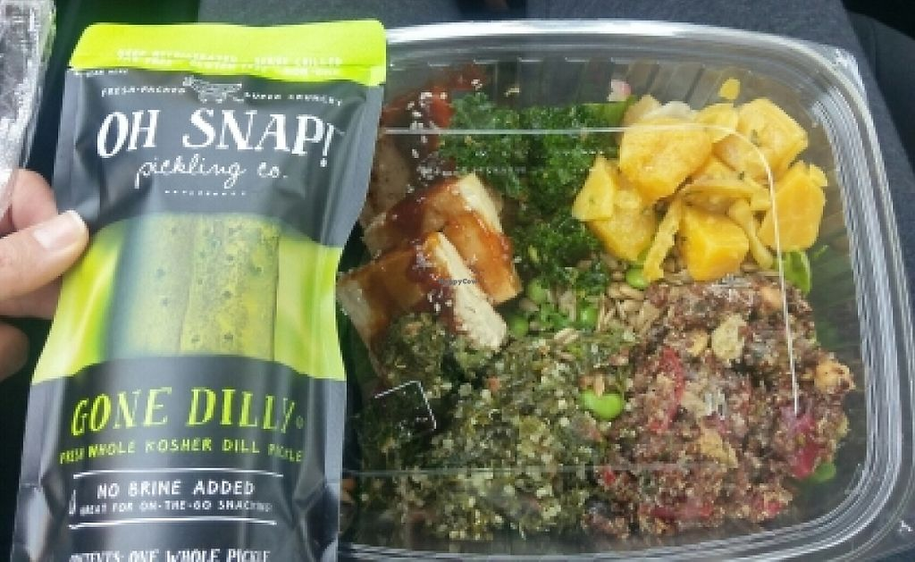 """Photo of Sprouts Farmers Market - Nob Hill  by <a href=""""/members/profile/amylorelle"""">amylorelle</a> <br/>huge salad and giant pickle for $8.98 <br/> June 15, 2016  - <a href='/contact/abuse/image/21278/209174'>Report</a>"""