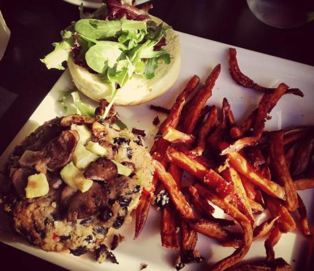 """Photo of Cafe Nola  by <a href=""""/members/profile/MissJenny"""">MissJenny</a> <br/>Black bean burger and sweet potato fries <br/> March 7, 2013  - <a href='/contact/abuse/image/21313/202020'>Report</a>"""