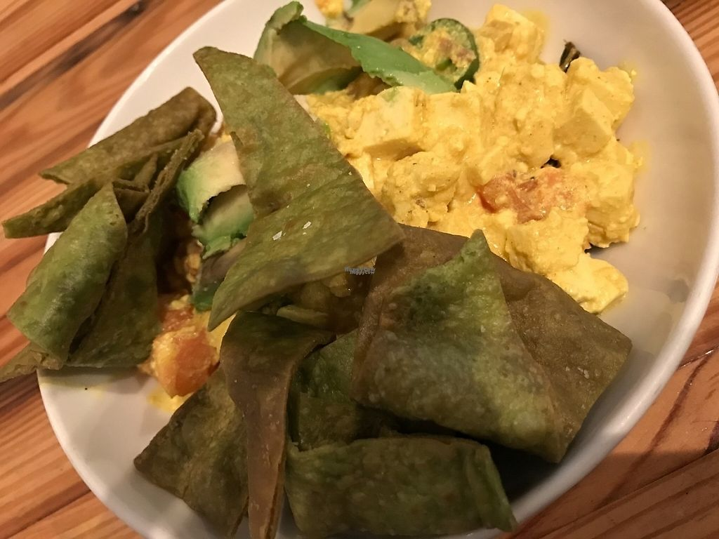 """Photo of Cafe Nola  by <a href=""""/members/profile/Alysoun%20Mahoney"""">Alysoun Mahoney</a> <br/>AGV Scramble with tofu, peppers, onions, tomato, avocado, almond milk, fried kale leaves and crispy spinach chips <br/> February 8, 2017  - <a href='/contact/abuse/image/21313/224308'>Report</a>"""