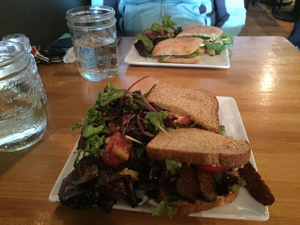 """Photo of Cafe Nola  by <a href=""""/members/profile/kim2121"""">kim2121</a> <br/>Vegan Tempeh BLT (front) and Vegetarian Roasted Apple and Brie Panini (back)  <br/> April 12, 2015  - <a href='/contact/abuse/image/21313/98713'>Report</a>"""
