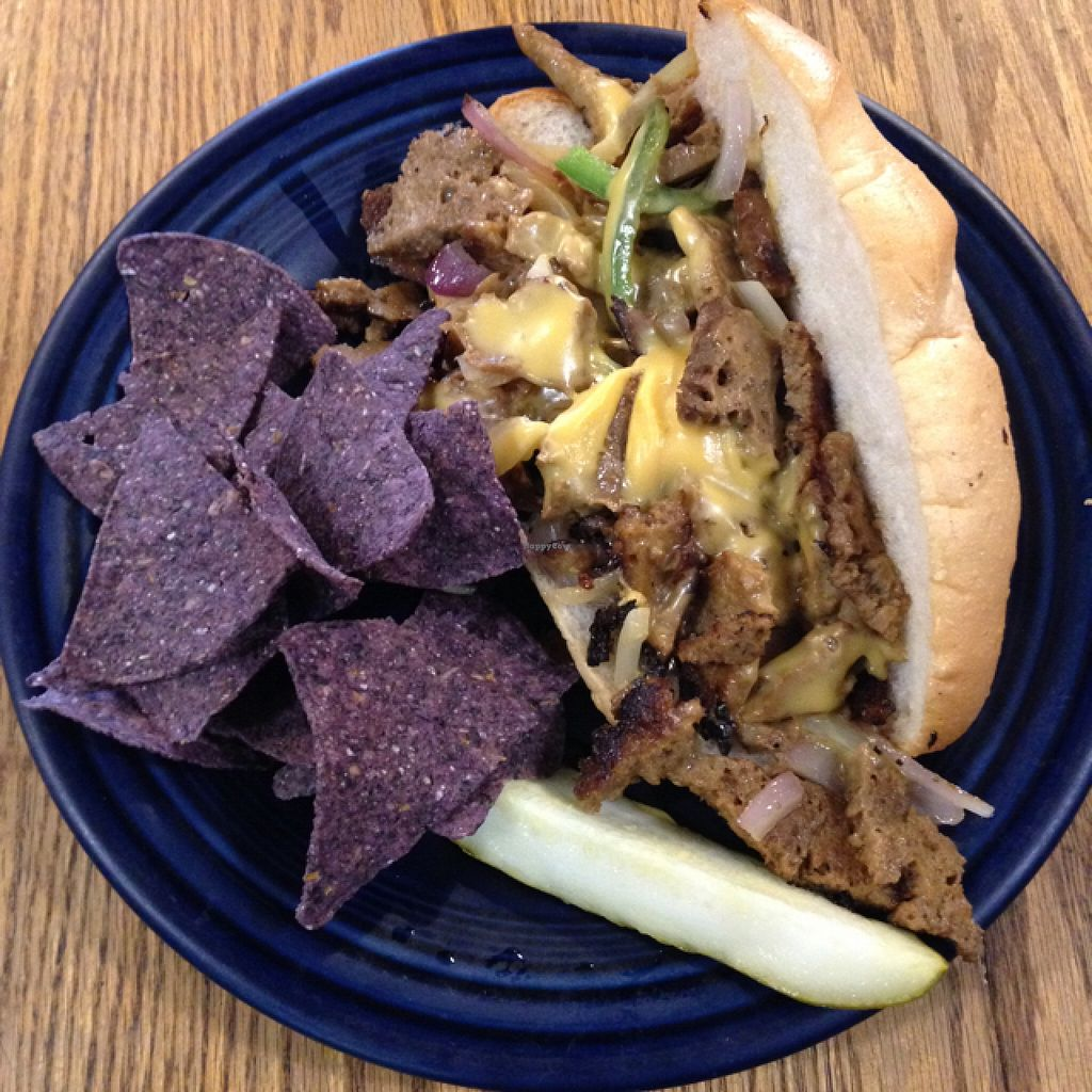 """Photo of Hard Times Cafe  by <a href=""""/members/profile/salitrov"""">salitrov</a> <br/>Vegan seitan philly <br/> September 10, 2015  - <a href='/contact/abuse/image/2134/117284'>Report</a>"""