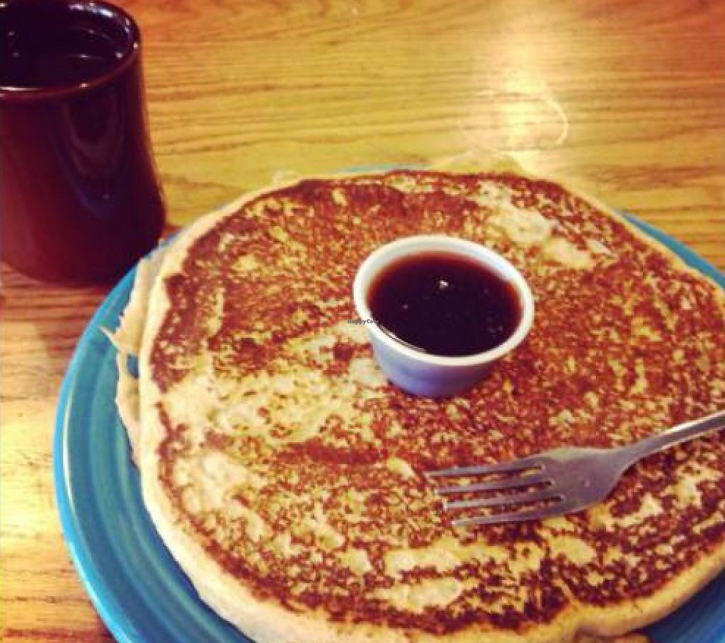 """Photo of Hard Times Cafe  by <a href=""""/members/profile/fitmetalvegan2013"""">fitmetalvegan2013</a> <br/>Vegan Pancake with Organic Maple Syrup <br/> August 14, 2013  - <a href='/contact/abuse/image/2134/206238'>Report</a>"""