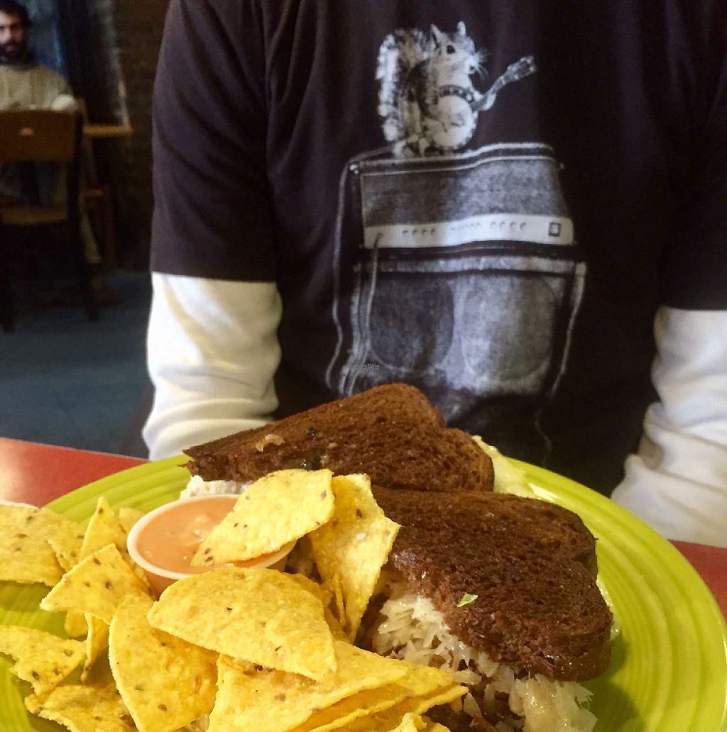 """Photo of Hard Times Cafe  by <a href=""""/members/profile/happycowgirl"""">happycowgirl</a> <br/>Tempeh Reuben and chips <br/> January 27, 2017  - <a href='/contact/abuse/image/2134/217951'>Report</a>"""